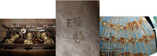 Mécanisme d'horlogerie – Poinçons insculpés à la base d'un calice – Voûtes en bois peint