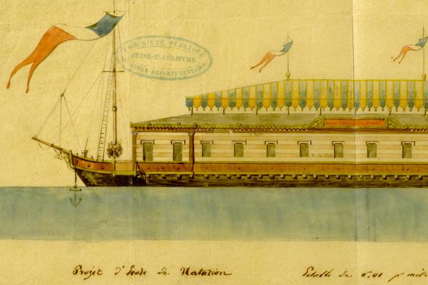 Les archives insolites du Département : les bateaux de bains sur la Seine